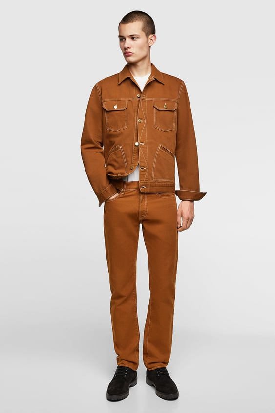 Structured Pants With Topstitching  View All Jeans Man by Zara