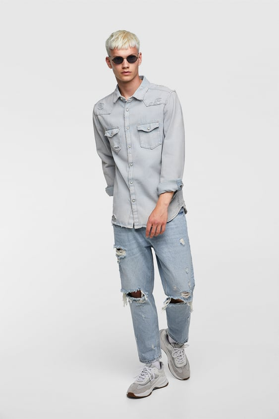 Ripped Denim Shirt  Streetshop By Collection Man by Zara