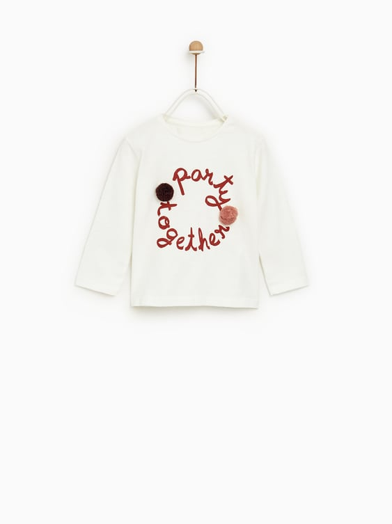 Text Print Shirt With Pompoms  View All T Shirts Baby Girl by Zara