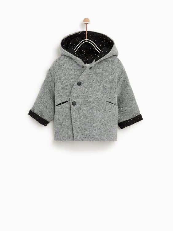 Hooded Coat With Pompom  Toddlerbaby Girl by Zara