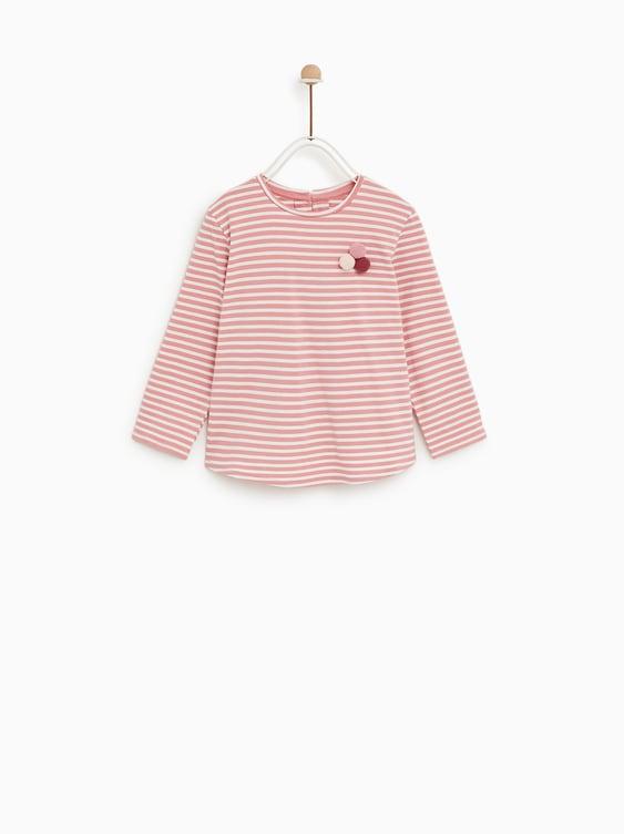 Pompom T  Shirtt Shirts Baby Girl by Zara