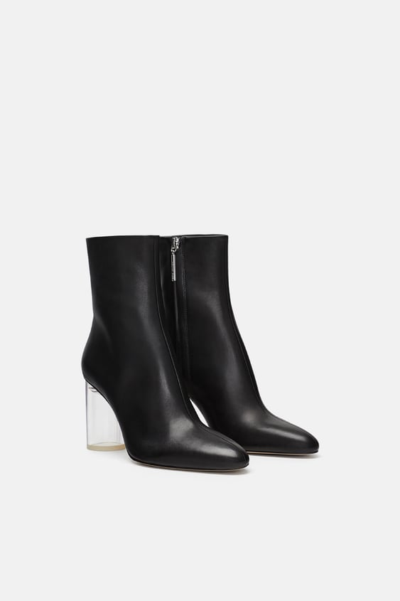 Leather Ankle Boots With See  Through Heels View All Shoes Woman by Zara