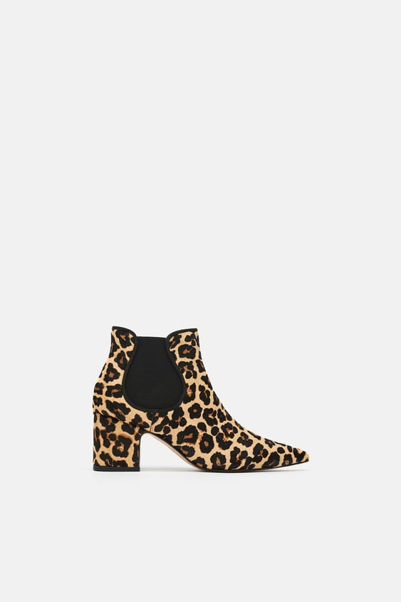 Printed Leather High  Heel Ankle Bootsanimal Print Woman by Zara