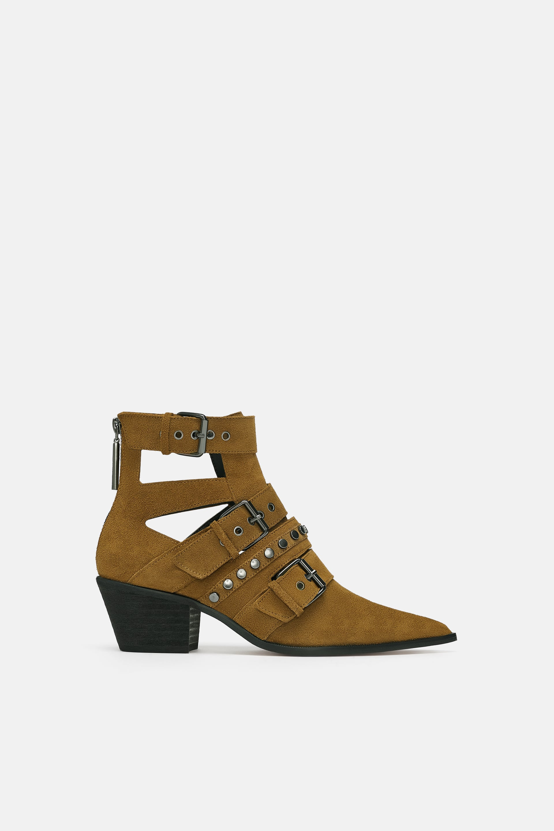 Leather High  Heel Ankle Boots With Strapsnew In Woman by Zara