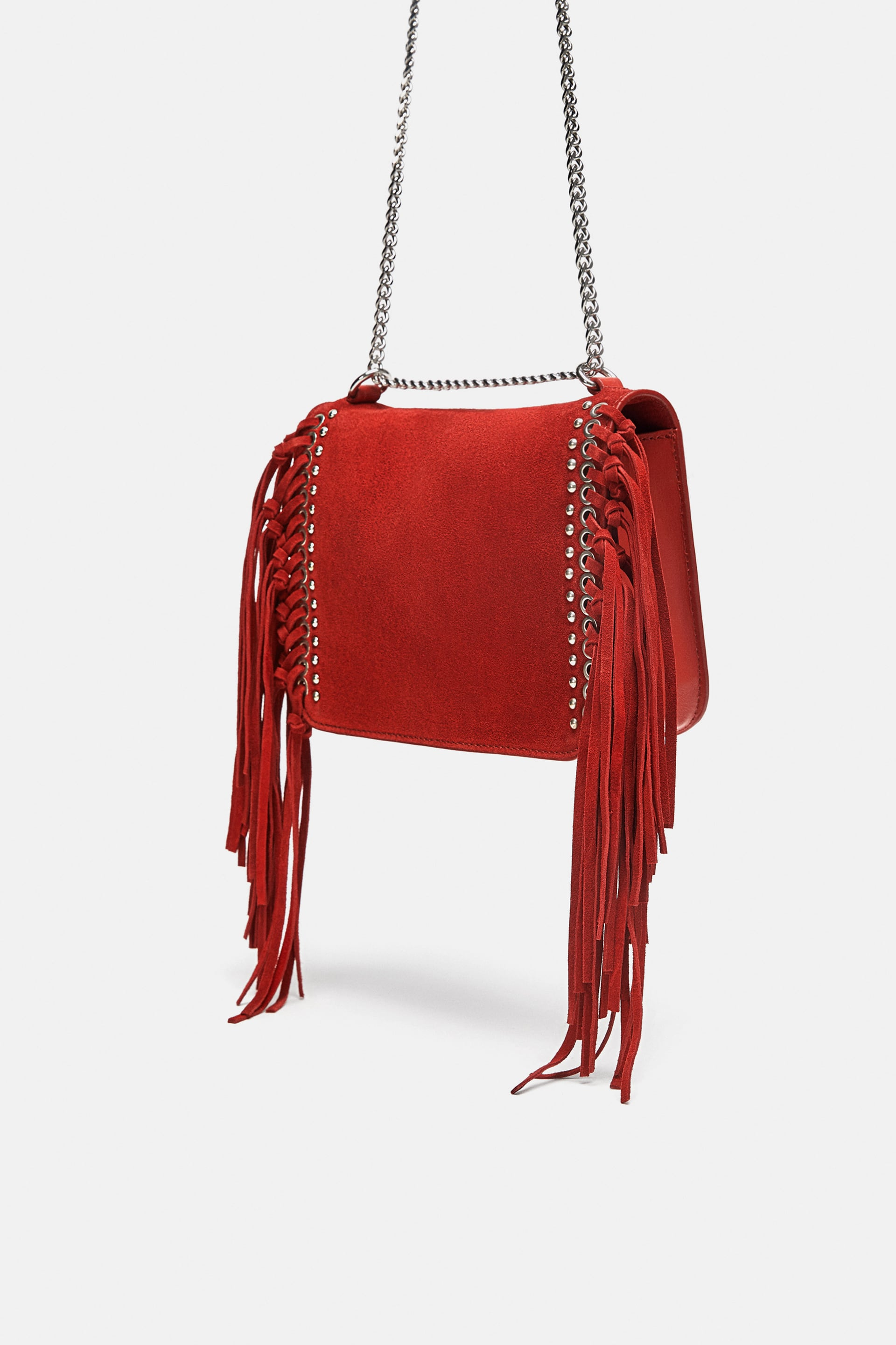 Split Leather Fringed Crossbody Bag  View All Bags Woman by Zara