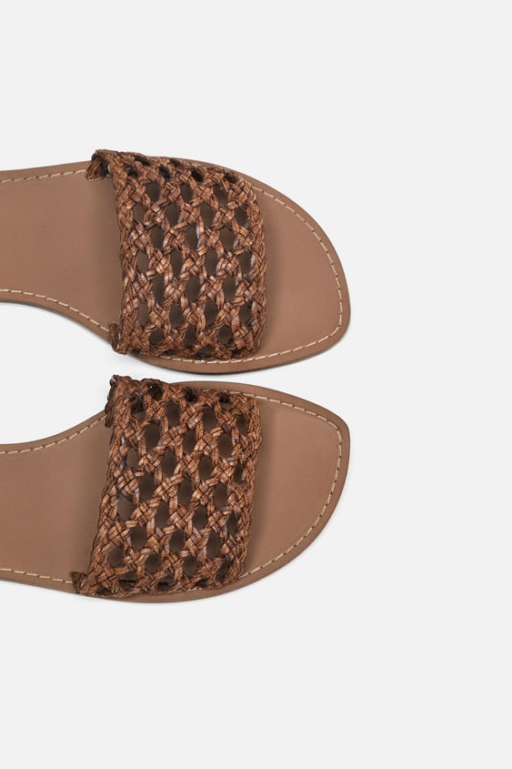 Braided Slides  Sandals Shoes Woman by Zara