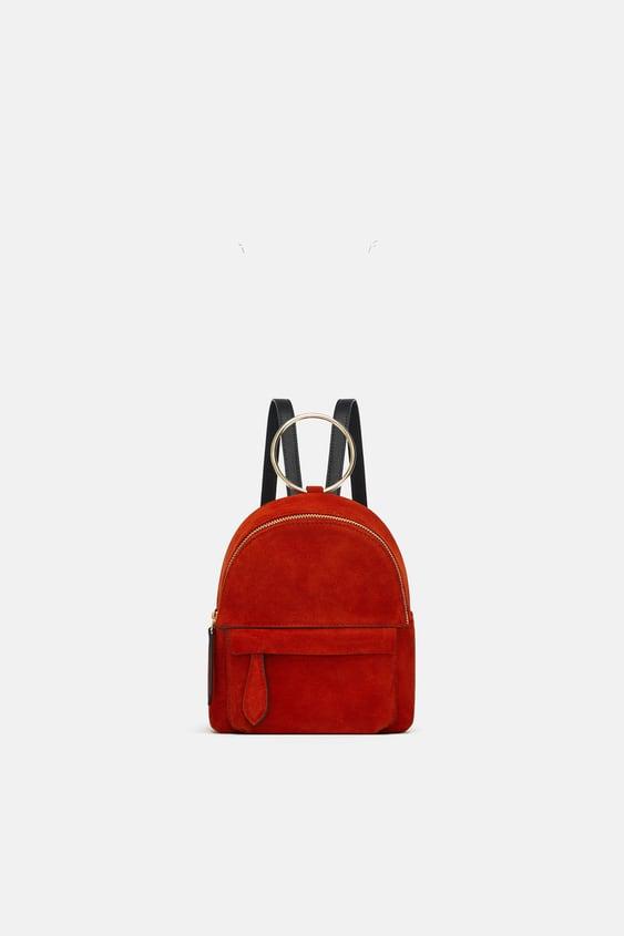 Mini  Rucksack Aus Leder Leder Taschen Damen by Zara