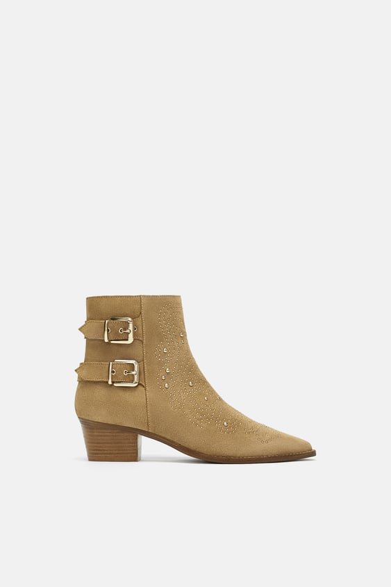 Studded Leather Ankle Boots  Booties Woman Shoes by Zara