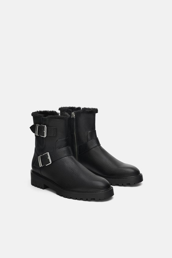 Leather Biker Ankle Boots  Ankle Boots Shoes Woman by Zara