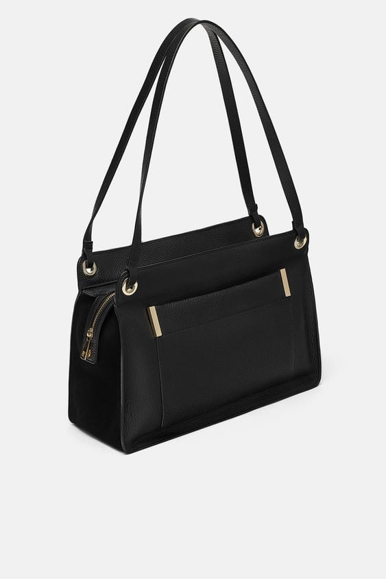 Leather Rectangular City Bag With Zip  Crossbody Bags Bags Woman by Zara
