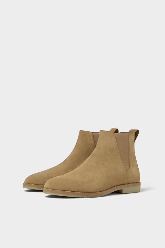 Beige Leather Sporty Ankle Boots  New Inman by Zara