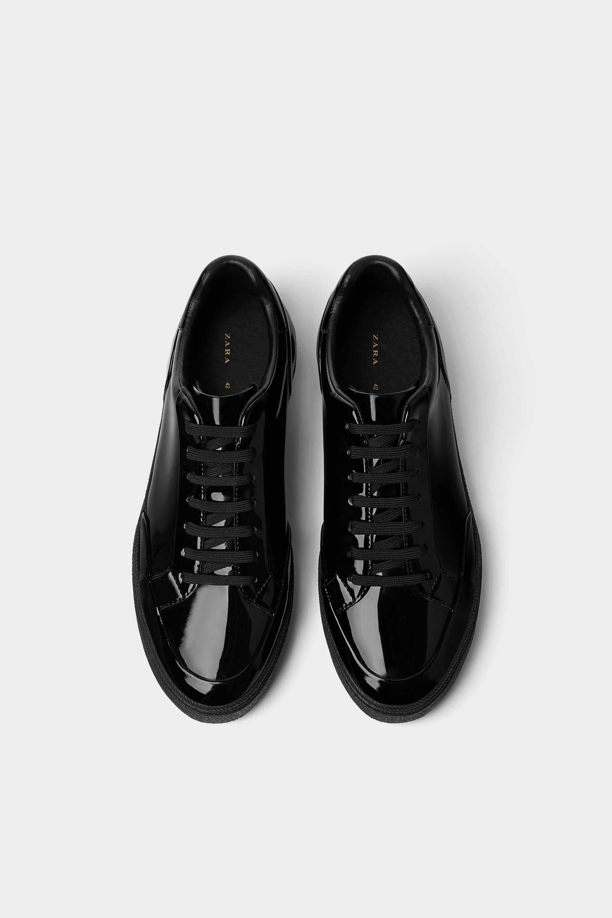 6d6cd339f4db Zara BLACK PATENT FINISH SNEAKERS