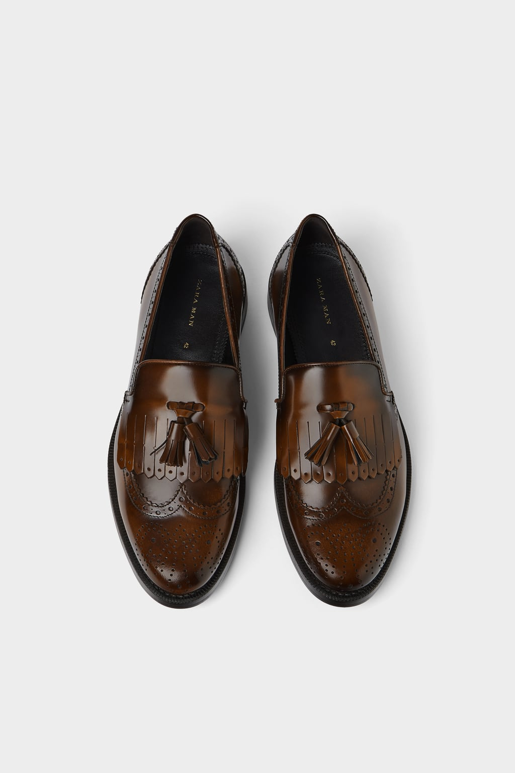 Leather Kiltie Loafers With Broguing  Leather Shoes Man by Zara