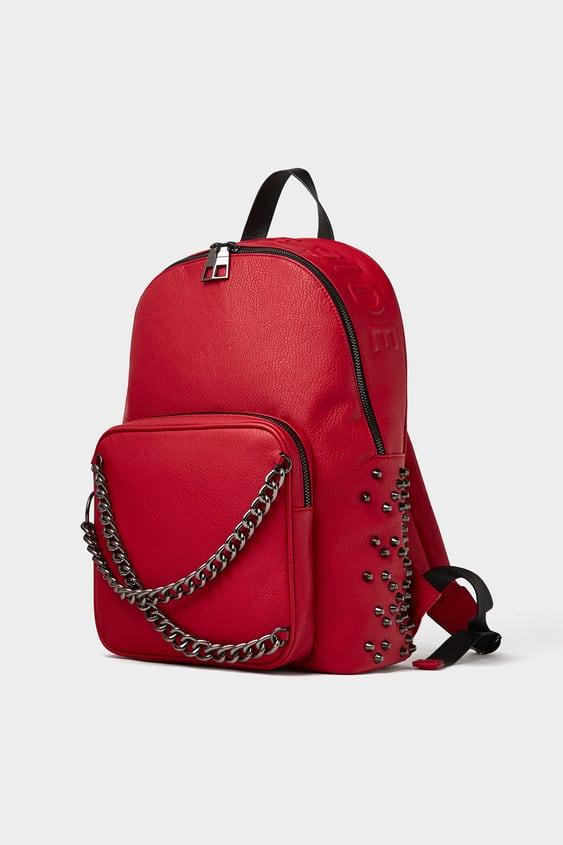 Studded Red Backpack  View All Bags Man by Zara