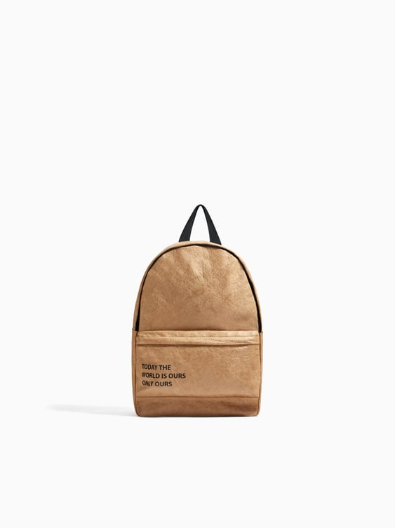 Backpack With Saying  View All Bags And Backpacks Girl by Zara