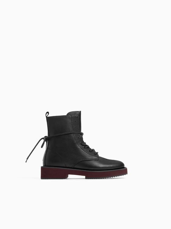 Leather Ankle Boot With Contrasting Sole  View All Shoes Girl by Zara