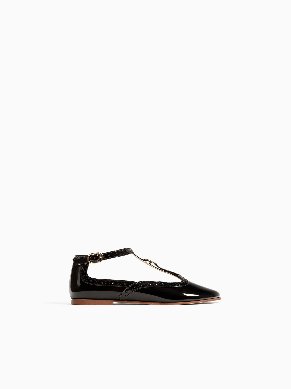 9cfb9f00d06 Zara PATENT LEATHER BALLET FLATS