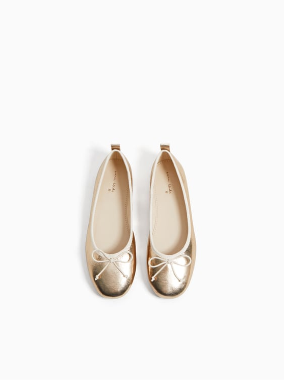 Metallic Ballet Flats With Small Bow  Special Offers Girl Kids Shoes by Zara