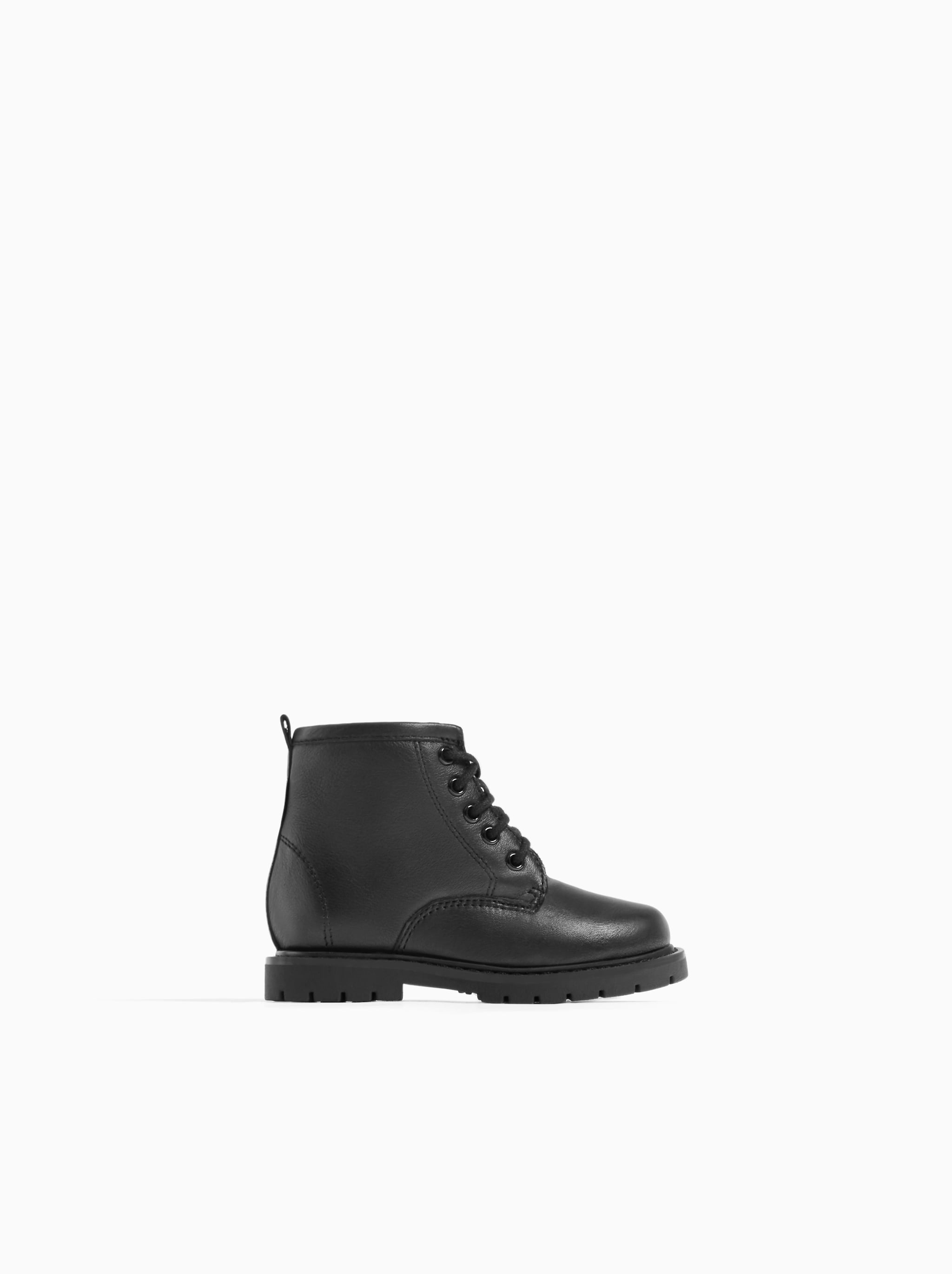 Zara LACED LEATHER BOOTS