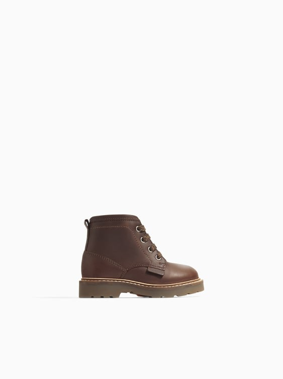 Lined Leather Boots  Leather Shoes Baby Boy by Zara
