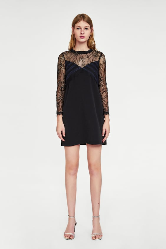 Contrast Lace Dress  Over 70 Percents Woman Sale by Zara
