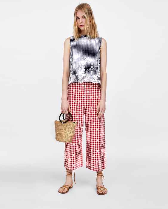 Gingham Jacquard Culottes  View All Pants Woman by Zara