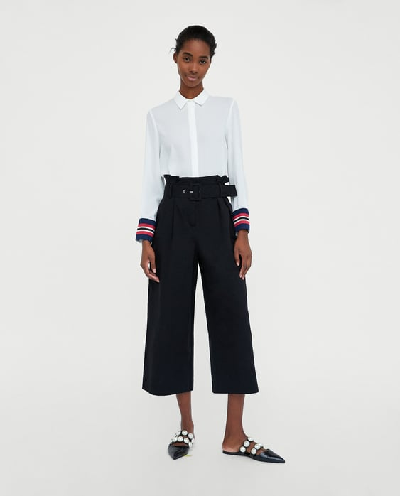 Shirt With Contrasting Cuffs  View All Tops Woman by Zara
