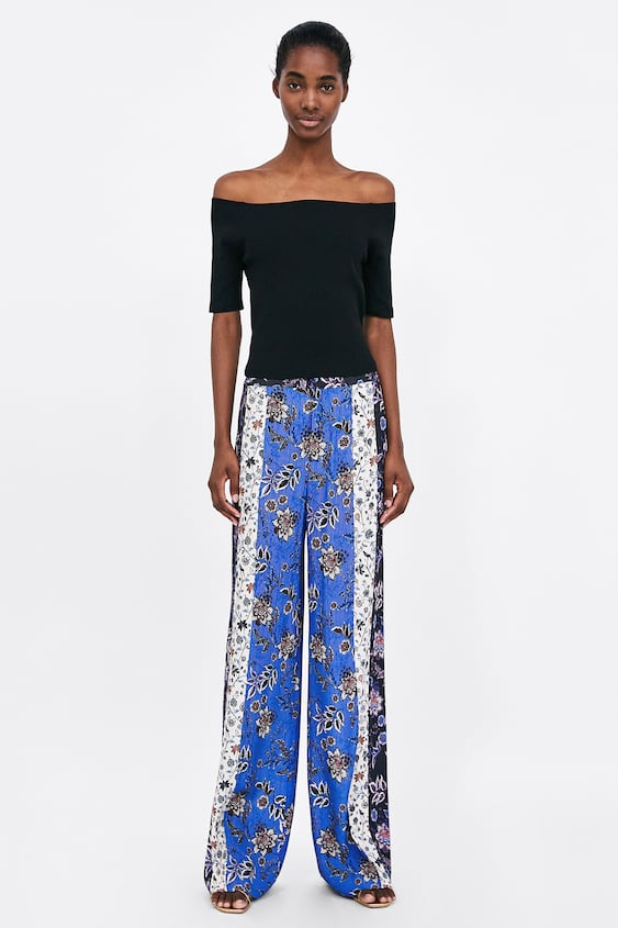 Patchwork Print Trousers  Bottomssale Woman by Zara