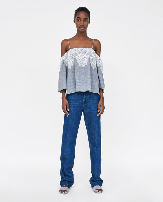 check-top-with-lace-trim--shirts-i-topssale-woman by zara