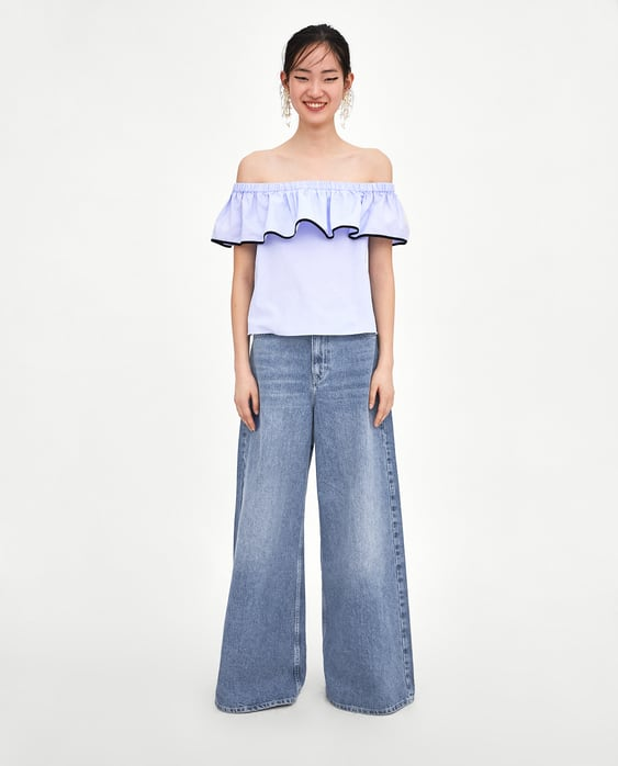d283eba0 Shoptagr | Top With Contrasting Trim Tops Tops Woman Sale by Zara