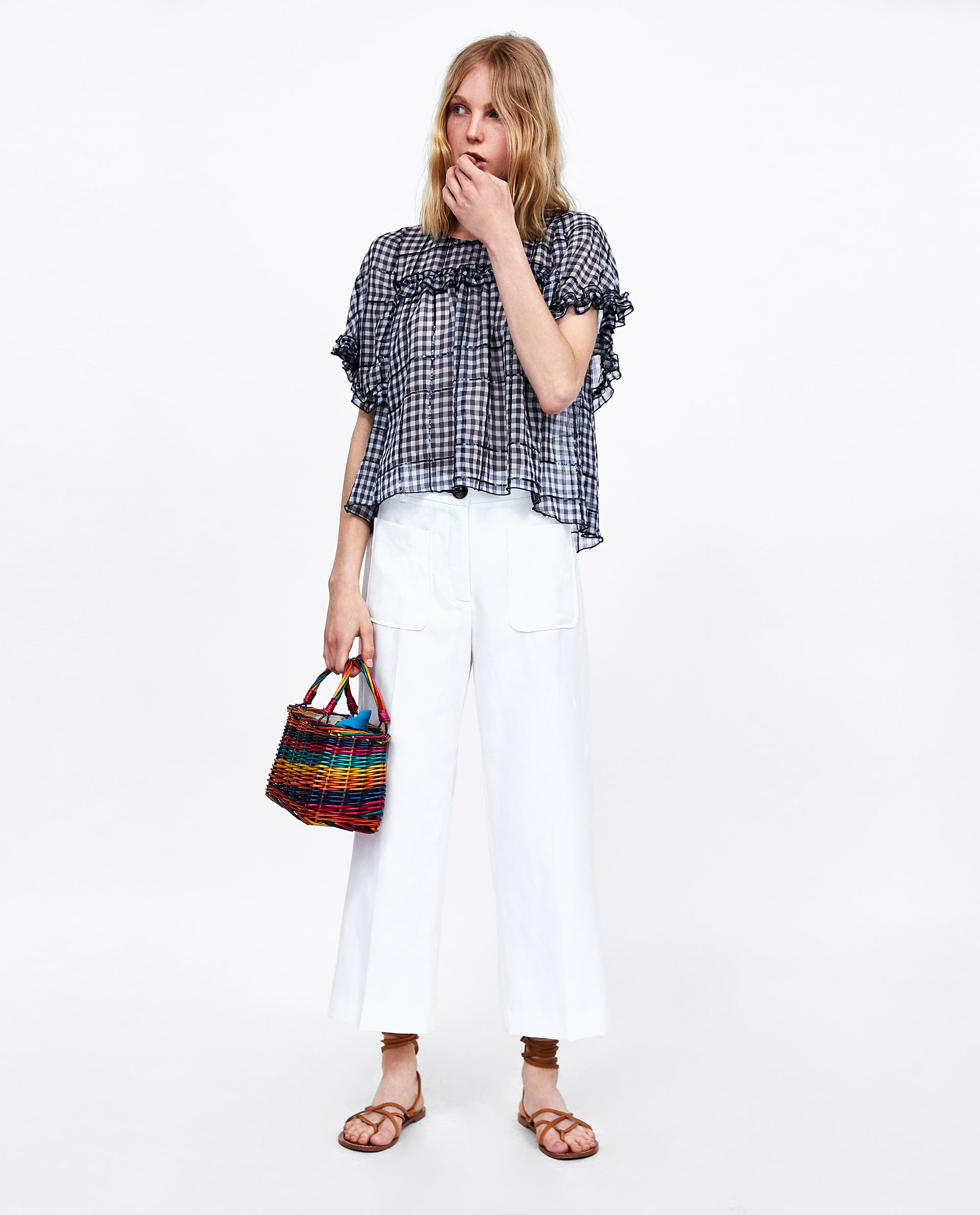 883131d4d96c6 Zara SEQUINNED GINGHAM TOP at £12.99