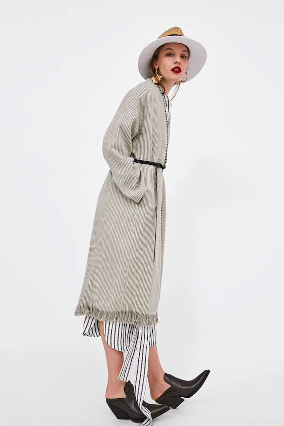 Linen Coat With Contrasting Topstitching  Must Havesale Woman by Zara