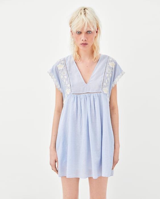 Kurzes Gestreiftes Kleid Mit Stickerei  Alles Anzeigen Kleider Trf Sale by Zara