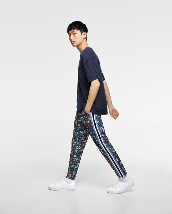 Floral Print Trousers  Joggingman by Zara