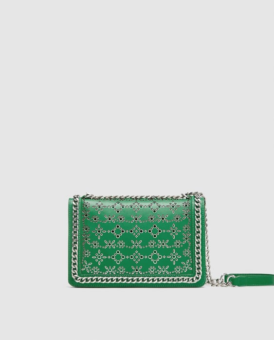 DIE-CUT LEATHER CROSSBODY BAG WITH CHAIN TRIMS