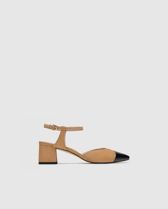 Combined High  Heel Leather Slingback Shoes High Heels Shoes Woman by Zara