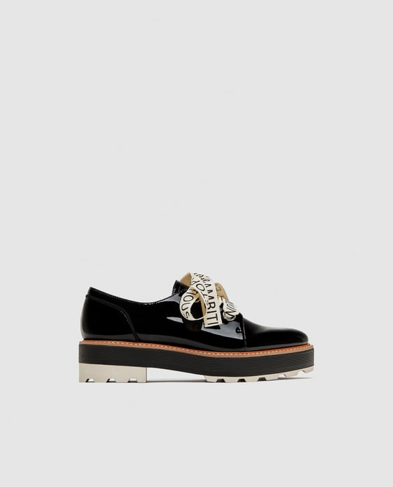 Faux Patent Brogues With Slogan Print Bow  Special Priceswoman by Zara