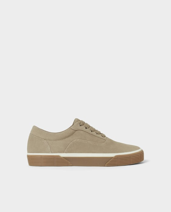 Beige Leather Sneakers  Starting From 60 Percents Off Shoes Man Sale by Zara