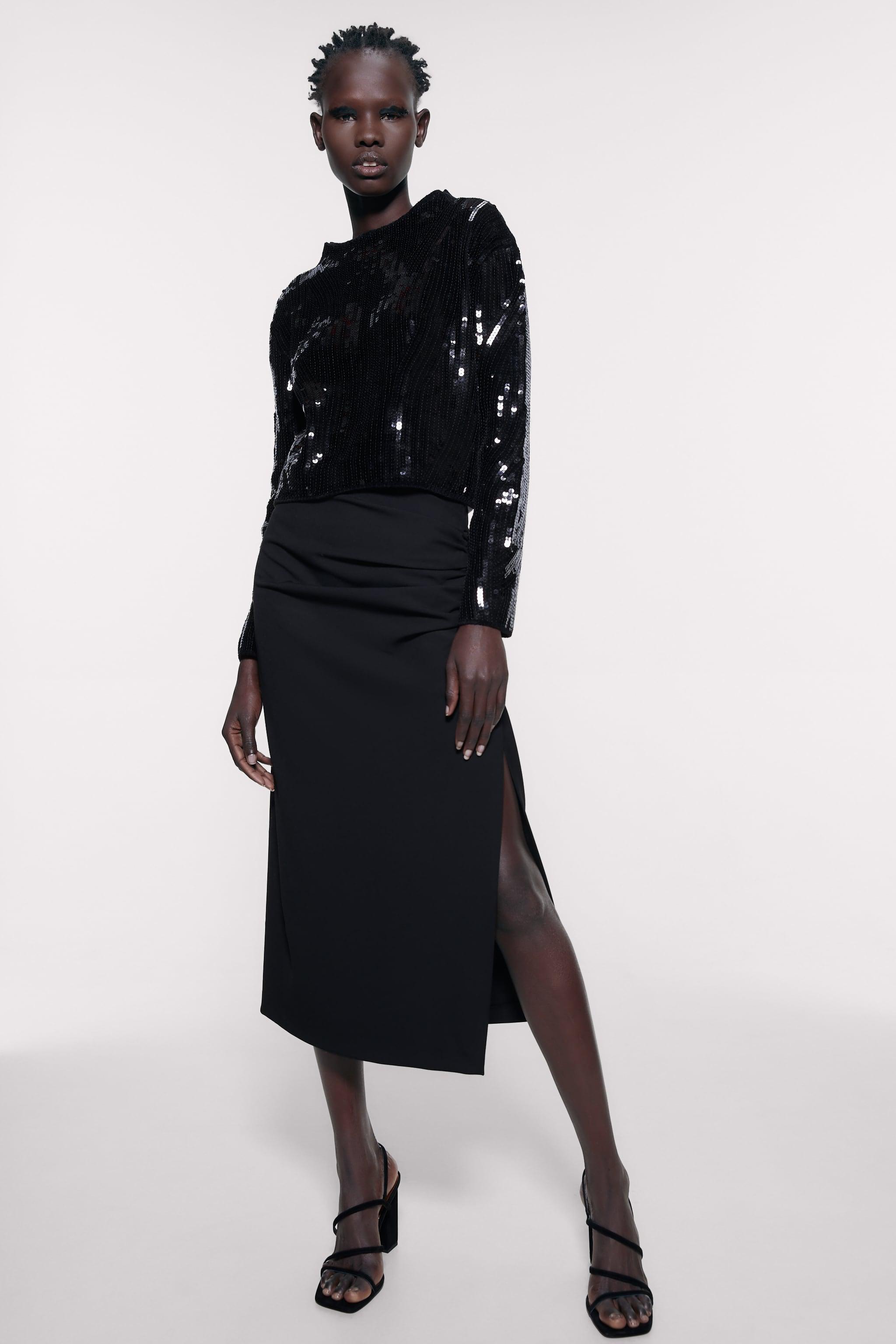 자라 Zara SEQUIN CHENILLE SWEATER,Black