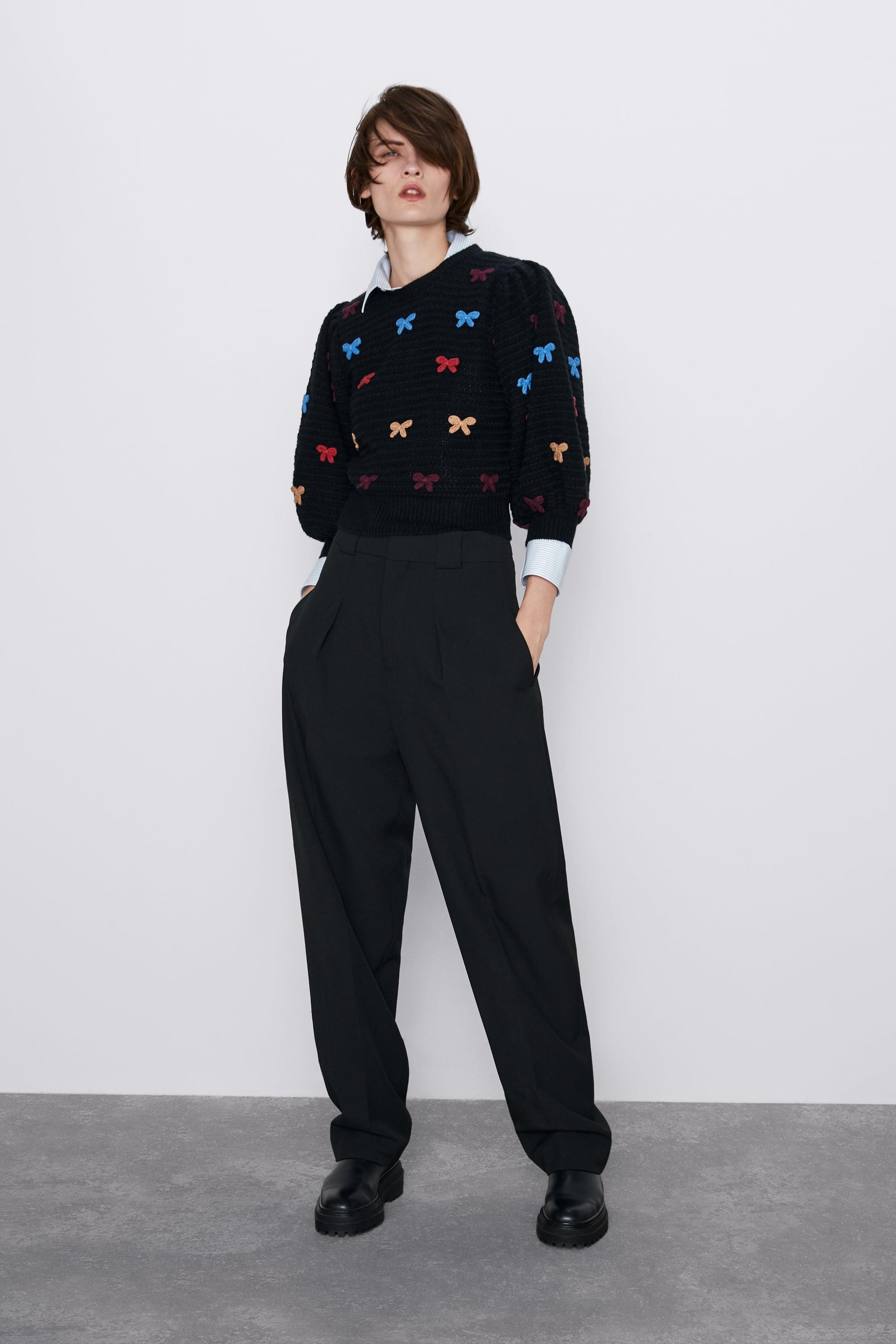 자라 Zara SWEATER WITH TIES,Black