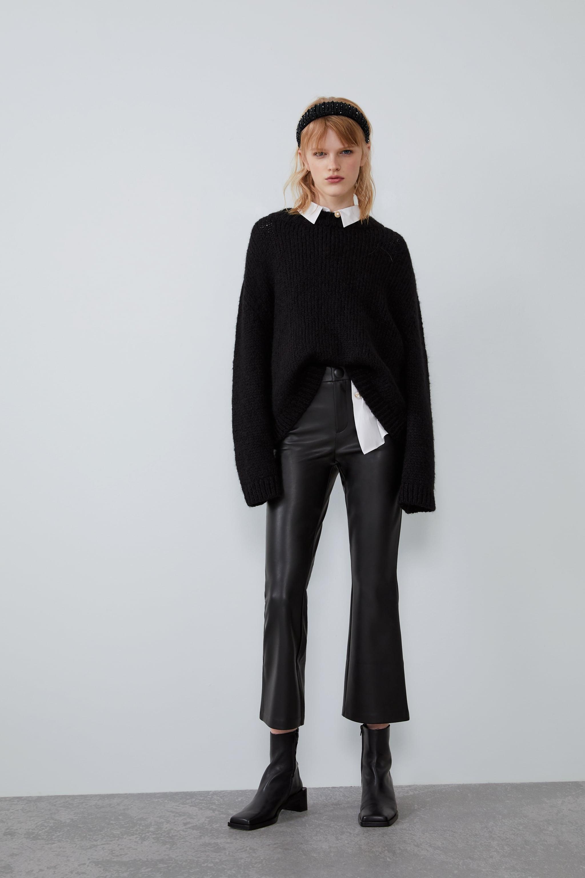 자라 Zara FAUX LEATHER FLARED LEGGINGS,Black