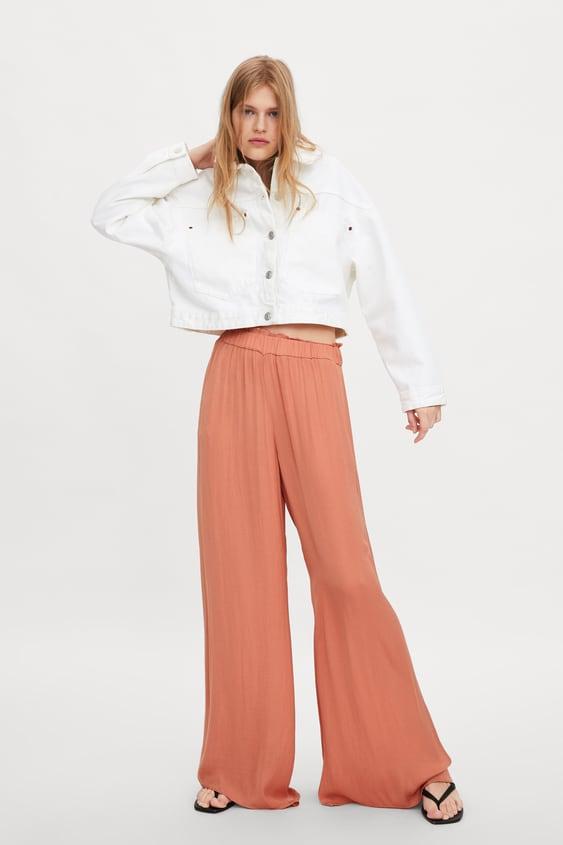 pantalon large fluide femme zara