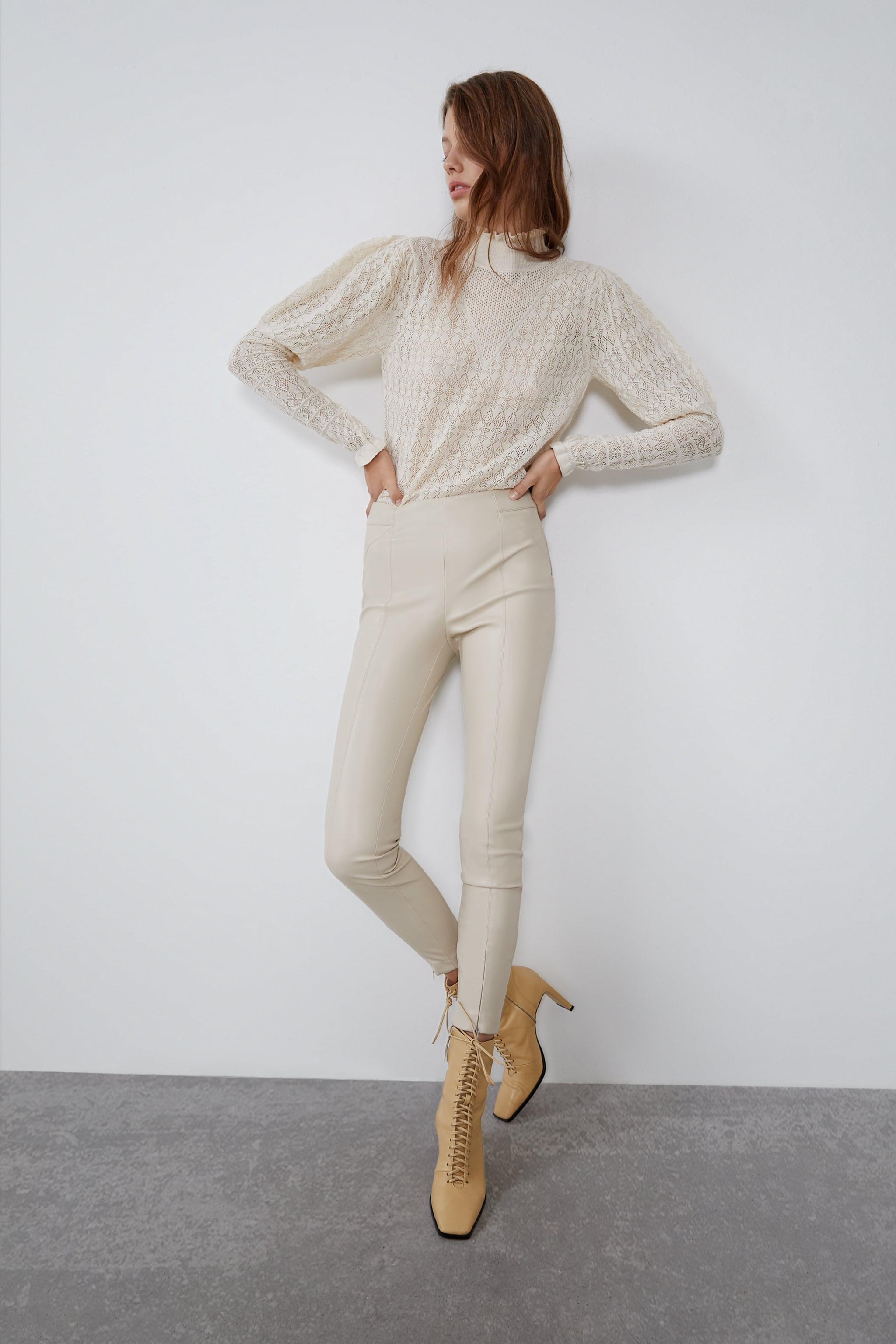 자라 Zara FAUX LEATHER LEGGINGS,Cream