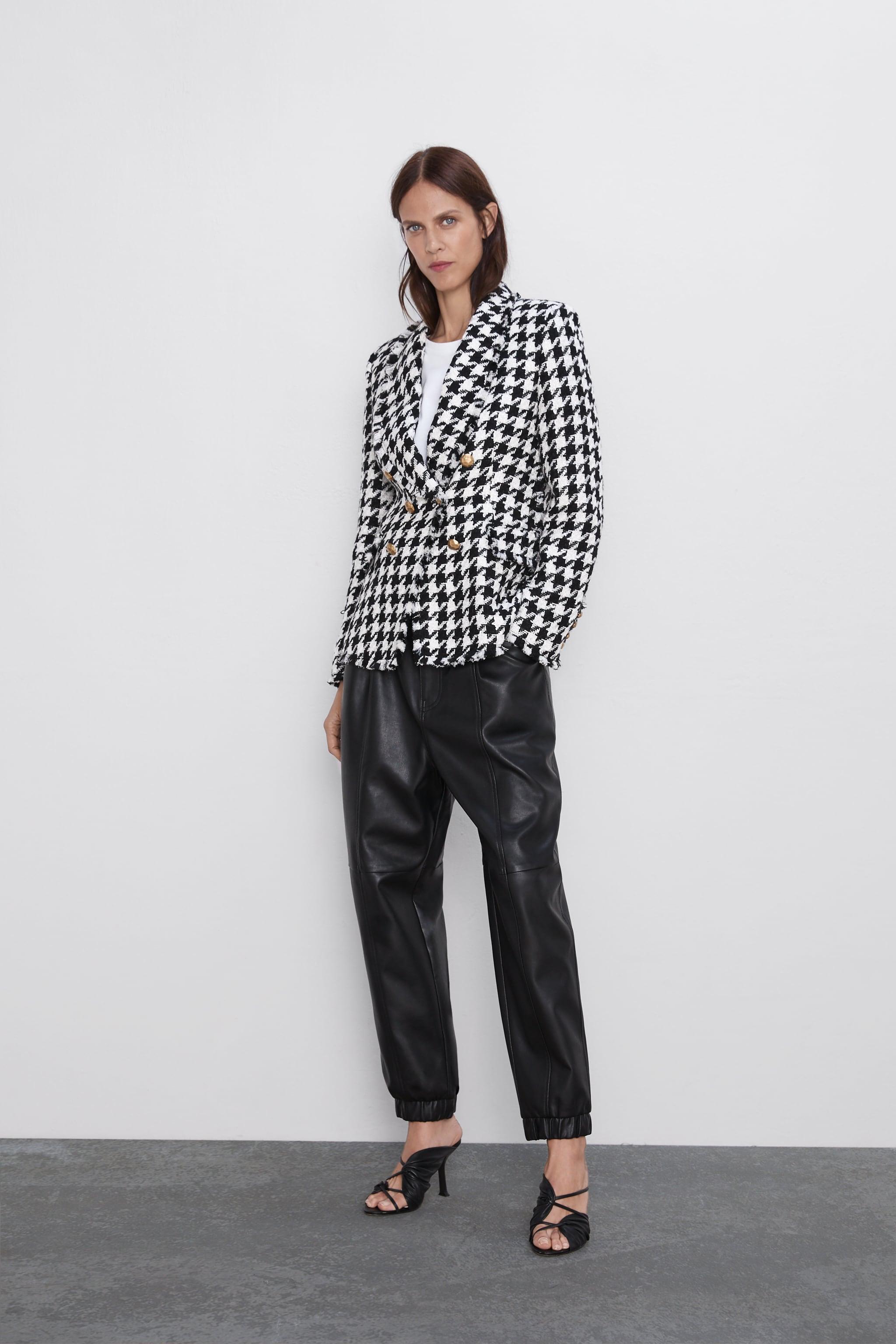자라 Zara HOUNDSTOOTH JACKET,Black / White
