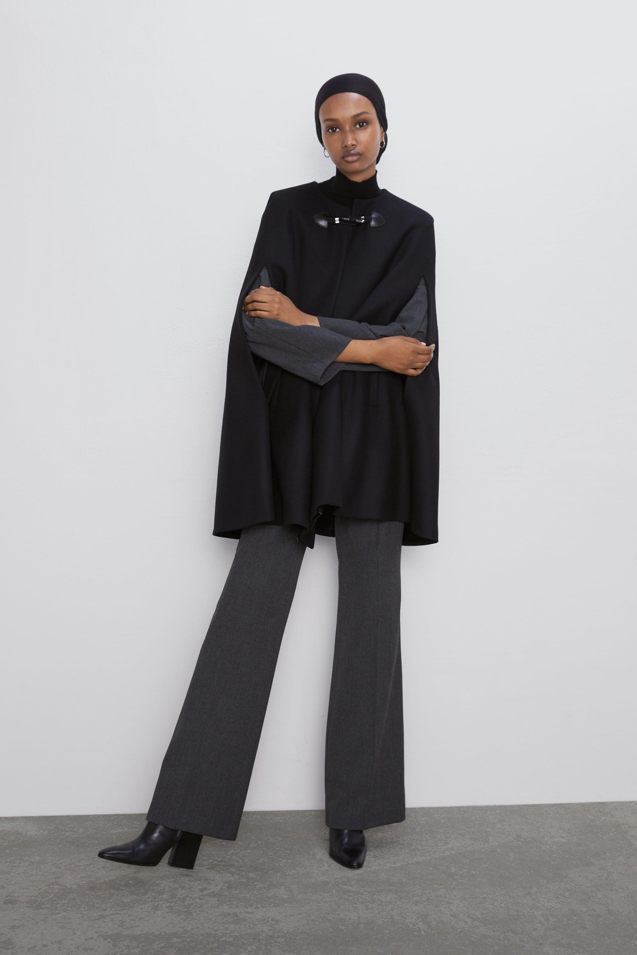 자라 Zara LONG CAPE WITH POCKETS,Black