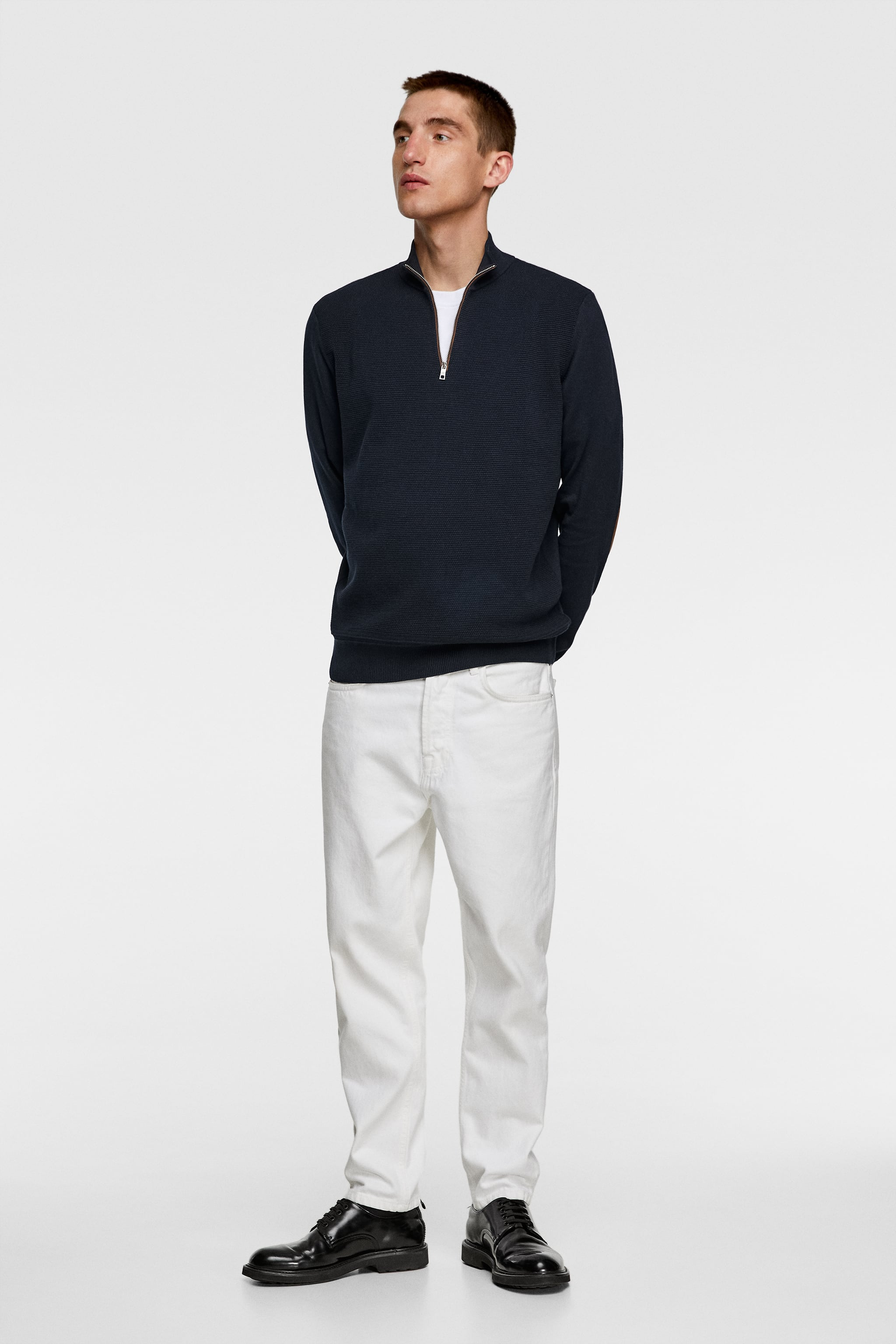Zara MOCK NECK SWEATER WITH ELBOW PATCHES