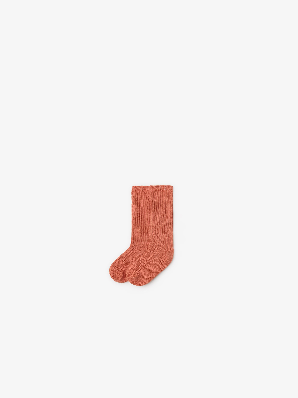 Zara BASIC RIBBED TWISTED KNIT SOCKS