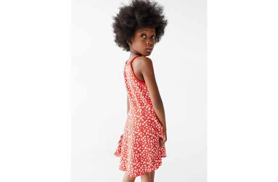 Zara FLORAL RIBBED DRESS