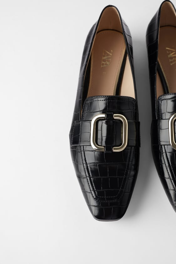 MOCK CROC LOAFERS WITH BUCKLE