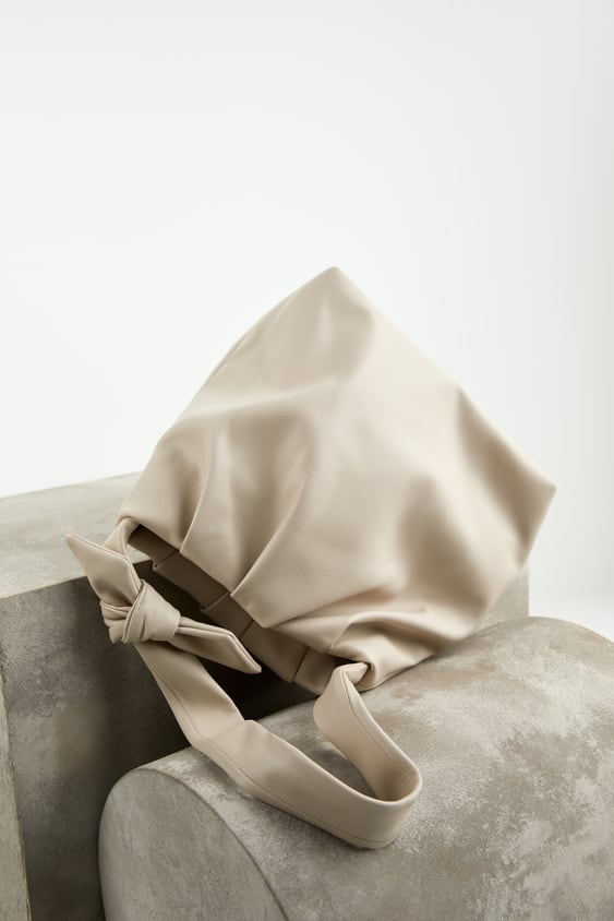 SOFT TOTE BAG WITH KNOTTED STRAP